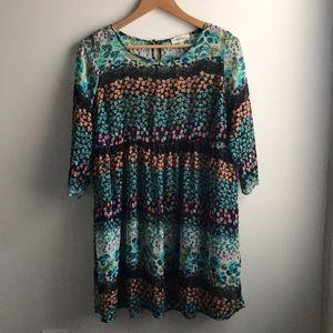 Monteau multi floral boho beach coverup dress